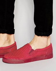 Asos Slip On Plimsolls With Zips In Red Snakeskin Effect Red