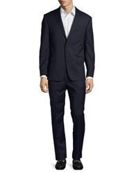 Michael Kors Check Slim Wool Suit Blue