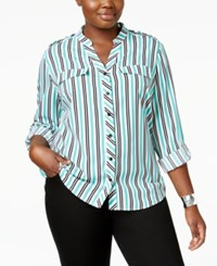 Ny Collection Plus Size Striped Utility Shirt Turquoise Duo