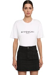 Givenchy Logo Print Cotton Jersey T Shirt White