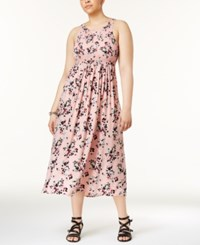 Almost Famous Trendy Plus Size Floral Print Midi Dress Blush Combo