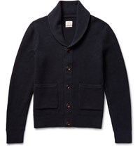 Rag And Bone Avery Shawl Collar Textured Knit Cotton Cardigan Blue