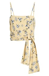 Amuse Society Only You Knot Waist Top Yellow