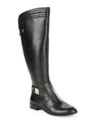 Anne Klein Kaydon Wide Calf Leather Boots Black