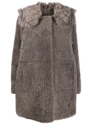Yves Salomon Concealed Placket Coat Grey