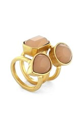 Women's Vince Camuto Jeweled Stack Rings Gold Coral Set Of 3