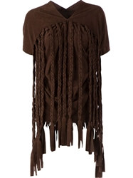 Junya Watanabe Comme Des Garcons Plaited Faux Leather Top Brown