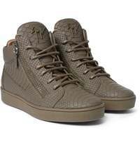 Giuseppe Zanotti Croc Effect Leather High Top Sneakers Green