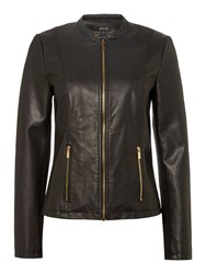 Episode Pu Leather Jacket With Gold Zipper Black