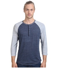 Howe Butta Cup Knit Henley Commodore Men's Long Sleeve Pullover Blue