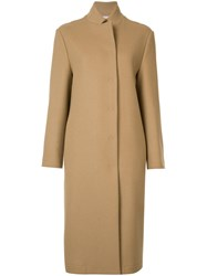 Tomas Maier High Neck Midi Coat Brown