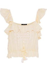 Love Sam Ruffled Embroidered Cotton Gauze Top Peach