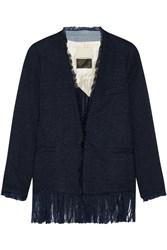 By Malene Birger Sineaka Frayed Boucle Blazer Navy