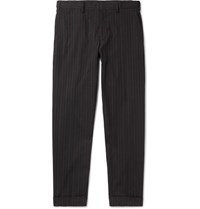 Dries Van Noten Philip Slim Fit Pinstriped Cotton Trousers Black