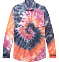 The Elder Statesman Oversized Tie Dyed Wool Cashmere And Cotton Blend Flannel Shirt Multi