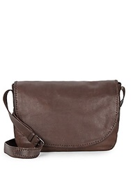 John Varvatos Motto Leather Messenger Bag Chocolate