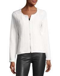 Neiman Marcus Crewneck Zip Front Cable Knit Jacket White