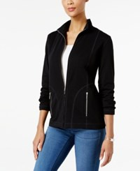 Karen Scott Petite Mock Neck Lounge Jacket Only At Macy's Deep Black