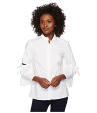 Ellen Tracy Poplin Shirt With Cut Out Sleeve E White Clothing