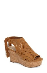 Marc Fisher Women's Ltd Stacie Wedge Cognac Suede