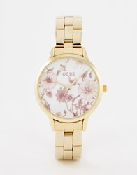 Oasis Floral Print Dial Gold Bracelet Watch