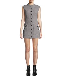 Veronica Beard Leigh Houndstooth Button Front Mini Dress Black White