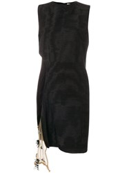 Toga Shift Dress With Side Beaded Detail Cotton Nylon Polyester Rayon Black