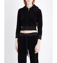 Juicy Couture Cropped Velour Hoody Pitch Black