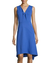 Neiman Marcus Sleeveless Ruffled V Neck Knit Dress Cobalt