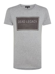 Dead Legacy Men's Square Chest Logo T Shirt Grey Marl