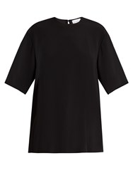 Raey Raw Edge Short Sleeve Crepe Top Black