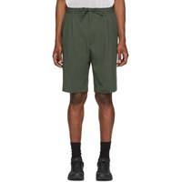 Cmmn Swdn Green Jayson Double Pleat Shorts