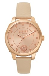 Versus By Versace Chelsea Leather Strap Watch 34Mm Tan Rose Gold