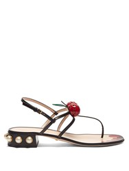 Gucci Hatsumomo Cherry Embellished Leather Sandals Black