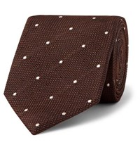 Kingsman Drake's 8Cm Polka Dot Silk Jacquard Tie Brown