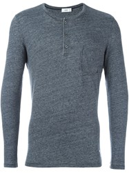 Closed Pocket Henley T Shirt Grey