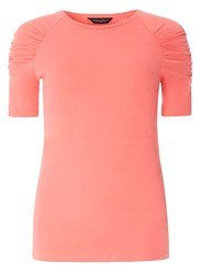 Dorothy Perkins Coral Ruched Sleeve T Shirt