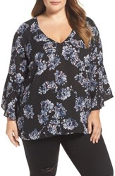 London Times Plus Size Women's Floral Print Bell Sleeve Top Black Multi