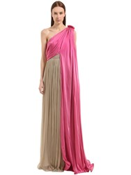 Vionnet One Shoulder Pleated And Silk Satin Dress Multicolor