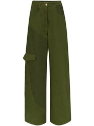 Jacquemus Panelled High Waist Jeans Green