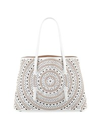 Alaia Laser Cut Leather Tote Bag Pink