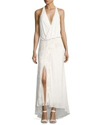 Haute Hippie Lux Sleeveless Halter Crochet Maxi Dress White