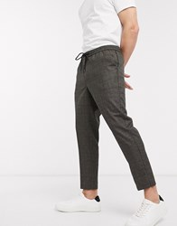 New Look Tonal Check Pull On Trousers In Brown