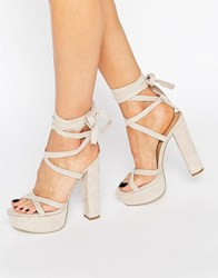 Truffle Collection Tie Up Block Heel Sandal Nude Micro Beige