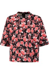 Marni Floral Print Cotton Blend Top Red