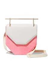 M2malletier Amor Fati Two Tone Suede And Leather Shoulder Bag Pink
