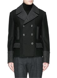 Dolce And Gabbana Quilted Back Virgin Wool Peacoat Black