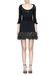 Alexander Mcqueen Netted Silk Ruffle Knit Dress Black