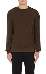 John Elliott Men's Waffle Knit Long Sleeve T Shirt Brown