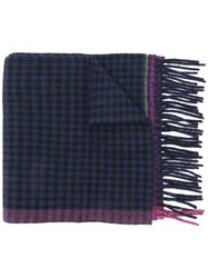 Paul Smith Ps By Check Print Scarf Blue